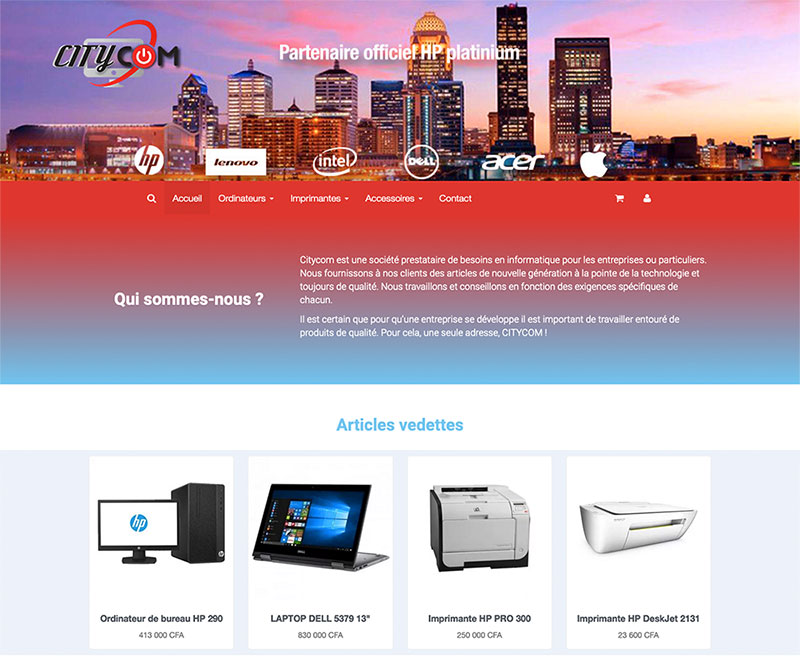site citycom - Design by Chelty, Agence web à Abidjan