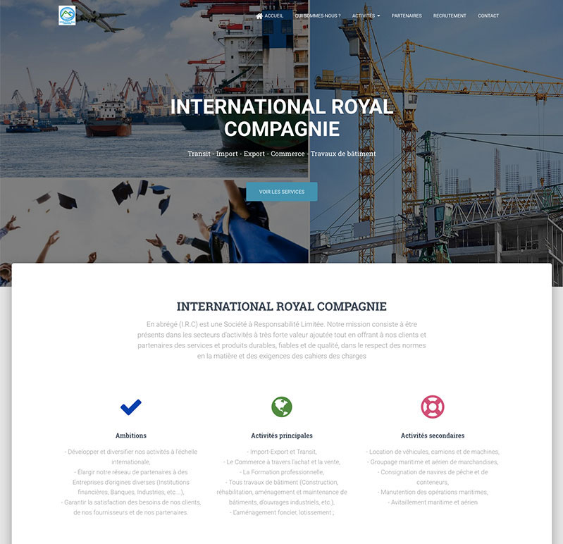 site IRC – Design by Chelty, Agence web à Abidjan